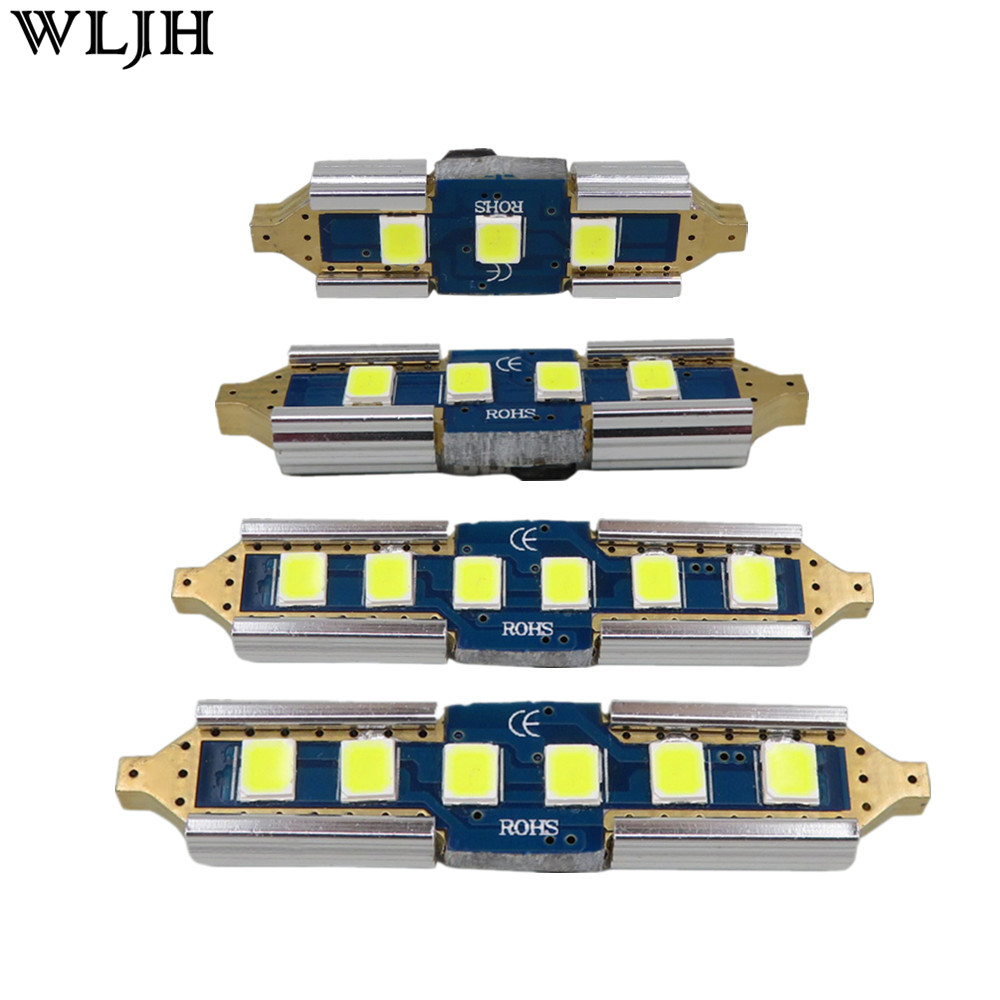 WLJH 2x Canbus No Error 12v 24v Car Led Bulb 31mm 36mm 39mm 41mm 3030 SMD DE3175 C5W C10W SV8.5 211 Interior External Light Lamp