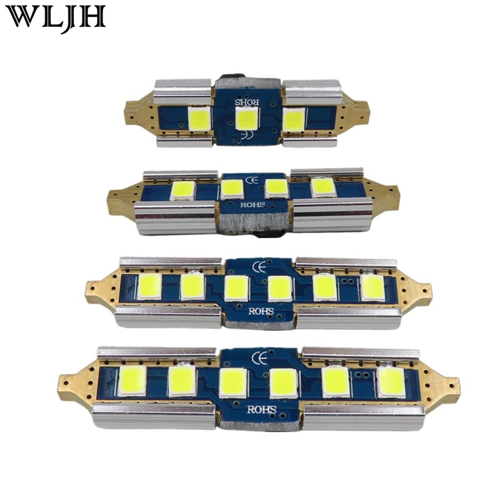 """WLJH 2x Canbus אין שגיאה 12 v 24 v הנורה Led רכב 31 מ""""מ 36 מ""""מ 39 מ""""מ 41 מ""""מ 4130 3030 SMD DE3175 C5W C10W SV8.5 211 מנורת אור חיצונית"""