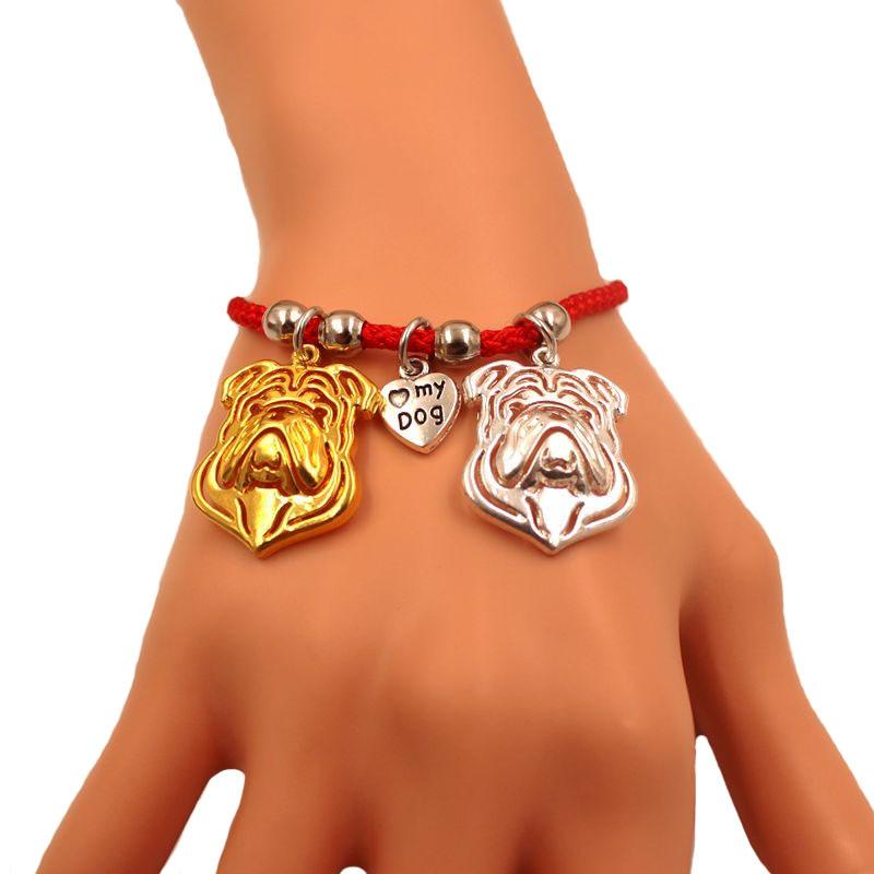 Amerikanischen Englisch Französisch Bulldog Hund Tier Charm Armband Für Frauen Männer Seil Männlichen Weibliche Perle Rot Herz Schwarz Schmuck Geschenk