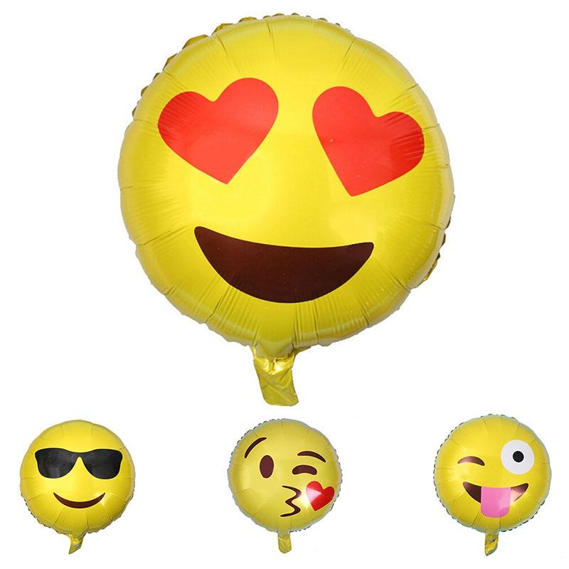 5Pcs 18 Inch Emoji Balloons Smiley Face Expression Balloon Cartoon Round Aluminum Foil Balloon Wedding Party Decoration 7Z