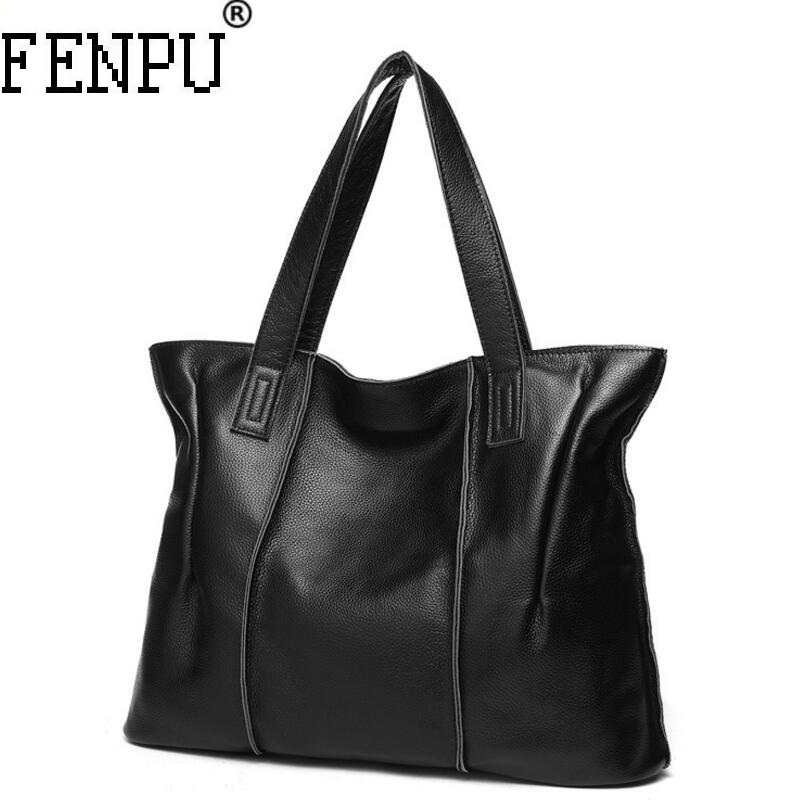 все цены на Bolsas Femininas Large Shoulder Bags Genuine Leather Female Bag Ladies Tote Women Crossbody Bags Handbag Big Women Messenger Bag