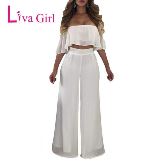 44c17f70e929 Liva Girl White Off Shoulder Ruffle Crop Top   Wide Leg Pants Two Piece Set  Womens Casual Summer 2 Piece Outfits for Women 2018