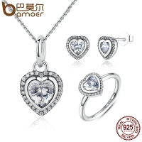 BAMOER 925 Sterling Silver Jewelry Set Sparkling Love Heart Jewelry Sets Wedding Engagement Jewelry Mother's Day Gift ZHS009