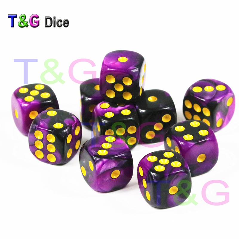 10pcs/set Of 12mm D6 Casino Cube,Gambling Dice With Gold Standard Dot Game Accessories For Gambling