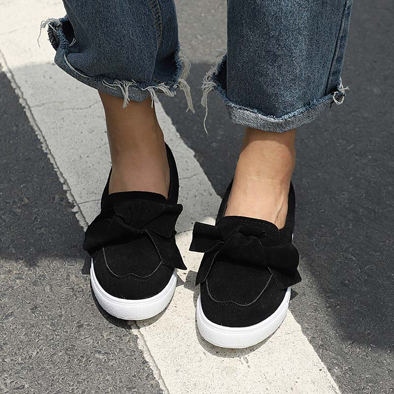 Women Loafers Bowknot Thick Bottom Autumn Winter Flat Shoes 2018 Fashion Comfortable Sewing Shoe Casual Female Flock Footwear Pl mcckle female flat shoes women cut outs autumn espadrilles fashion flock buckle strap sewing flats casual solid footwear shoe