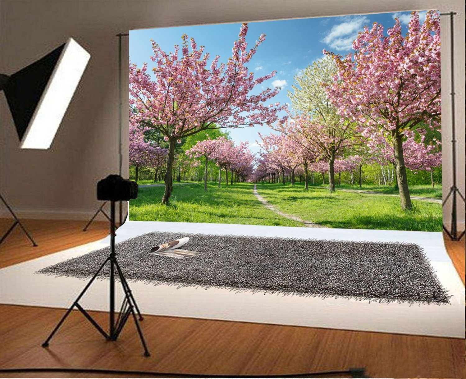 blue sky white clouds Japanese cherry blossoms tree grass spring backdrop Vinyl cloth Computer print wall Background