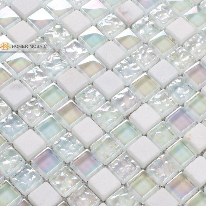 Elegancki Pure White Szkła Mieszane Kamienne Mozaiki Płytki