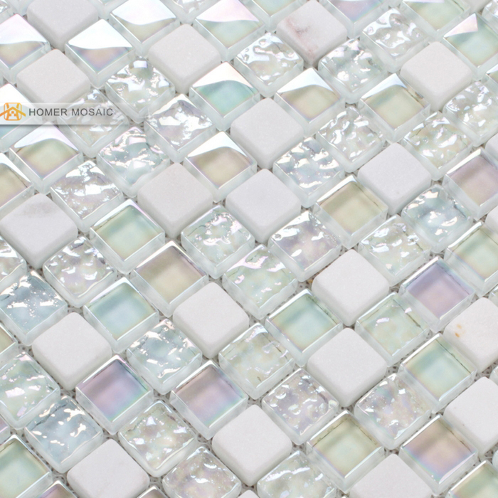 ᐊelegant pure white glass mixed stone mosaic tiles bathroom tiles ...