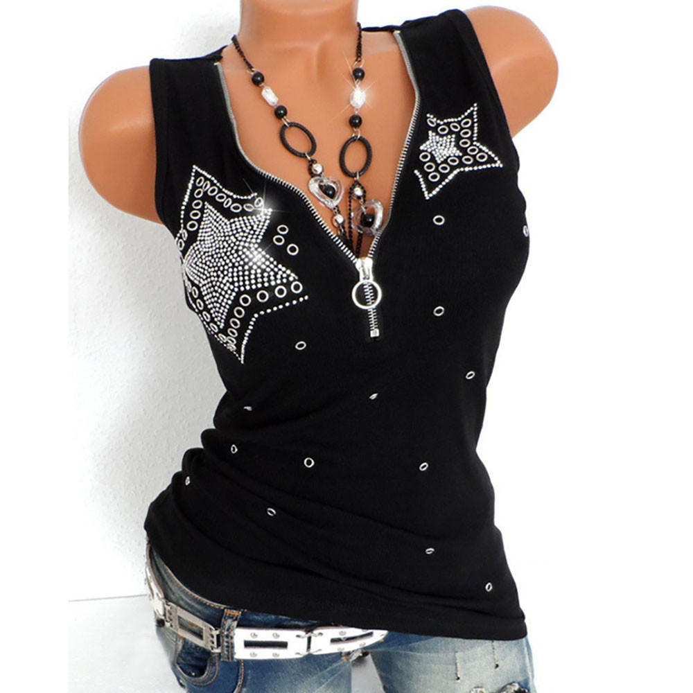 Women Tank Top Casual Solid Ladies Hot Drill Zipper Sleeveless Vest Tank Blouse Pullover Tops Shirt Camiseta Pulling Mujer #LL