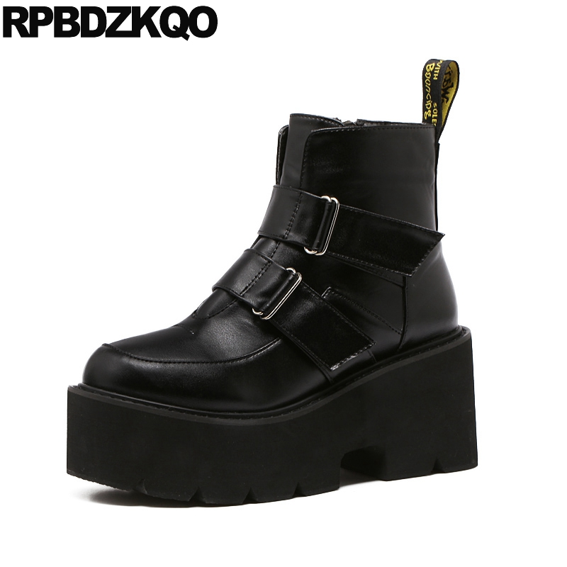 Ankle Muffin Platform High Heel Biker Punk Rock Boots Booties Wedge Round Toe Waterproof Women Motorcycle Black Shoes Harajuku nayiduyun women casual shoes low top platform wedge high heels boots round toe slip on pumps punk chic shoes black white sneaker
