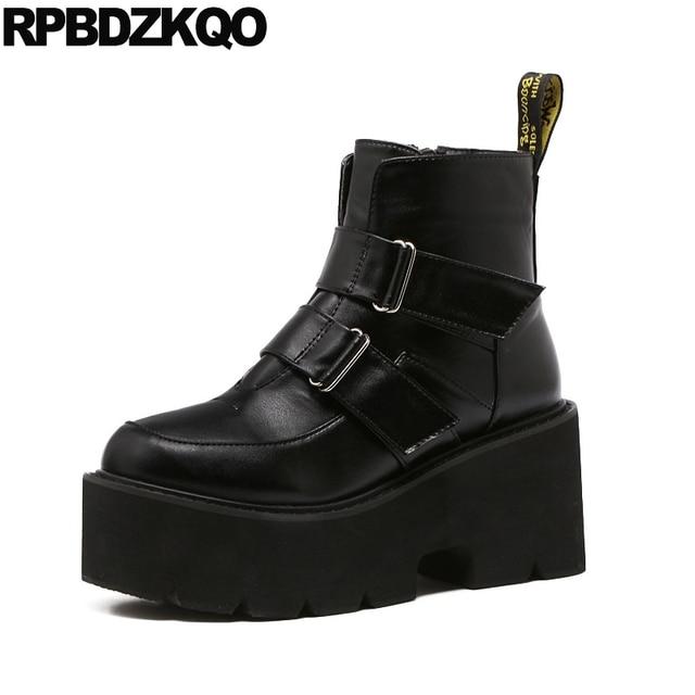 Ankle Muffin Platform High Heel Biker Punk Rock Stiefel Booties Booties Stiefel Wedge 0e36d4