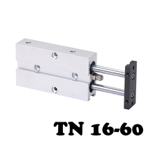 ФОТО tn16-60 double-rod piston cylinder double action tn type 16mm hole 60mm two cylinder stroke biaxial cylinder tn16-60