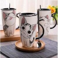 600ml Cute Cat Style Ceramic Mugs With Lid Spoon Cartoon Creative Moring Mug Milk Coffee Tea