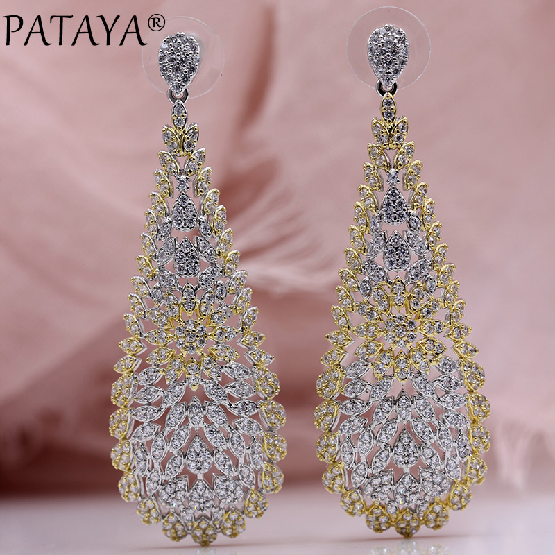 PATAYA New Luxury Long Earring Women Fashion Wedding Jewelry Two-color Plating 585 Rose Gold Natural Zircon Fine Stud Earrings все цены