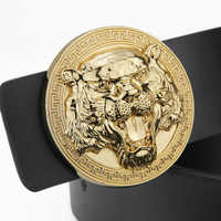 Fashion Animal Tiger Round Buckle luxury brand men genuine leather belt Black Brown Casual Wide Cow Leather boys Ceinture Homme