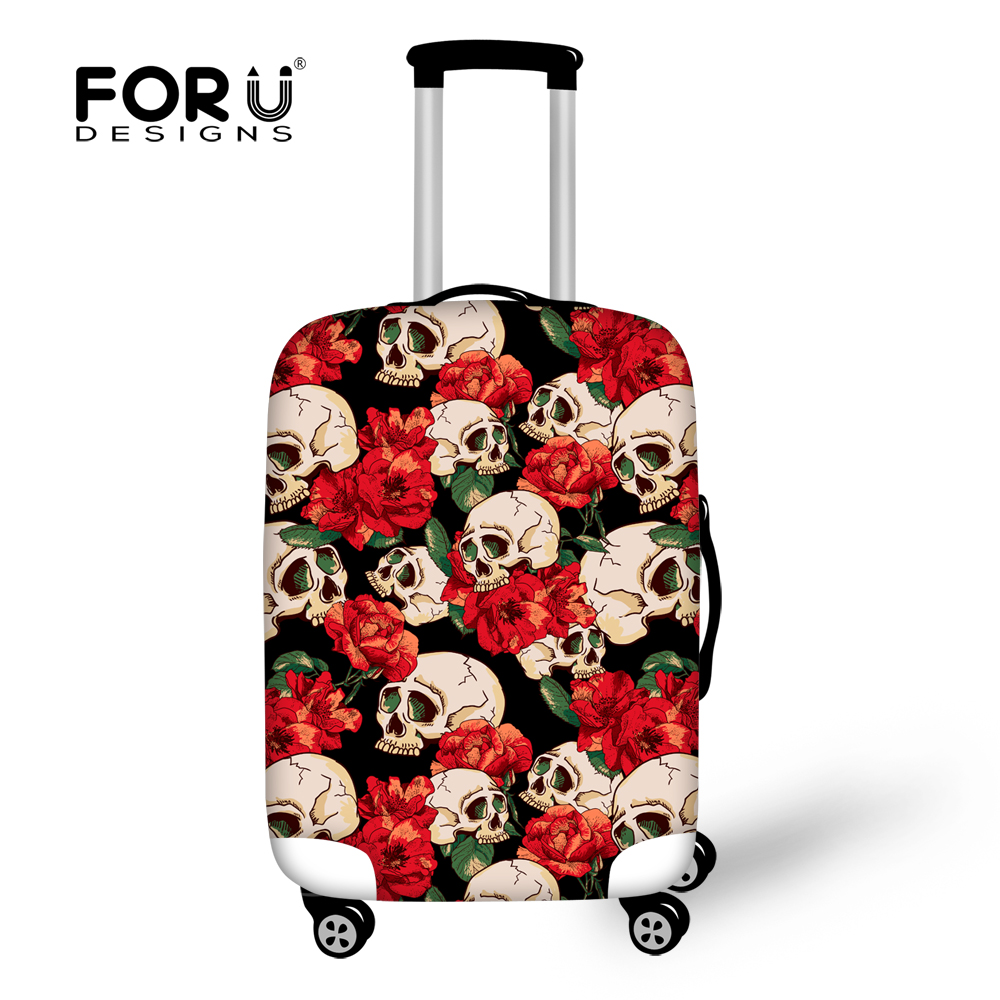 FORUDESIGNS Waterproof Travel Trunk Suitcase Cover 3D Rose Skull Prints Luggage Protective  Covers Apply To 18-30 Trolley Cases