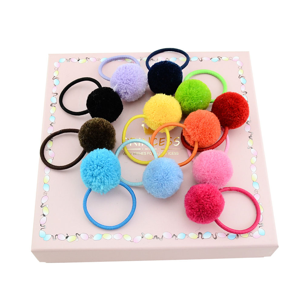 Hot Sale 12pcs/lot KidsHair accessories Cute   Headwear   Fur Ball With Elastic Band Ribbon Accessories Headband DIY Hair Rope