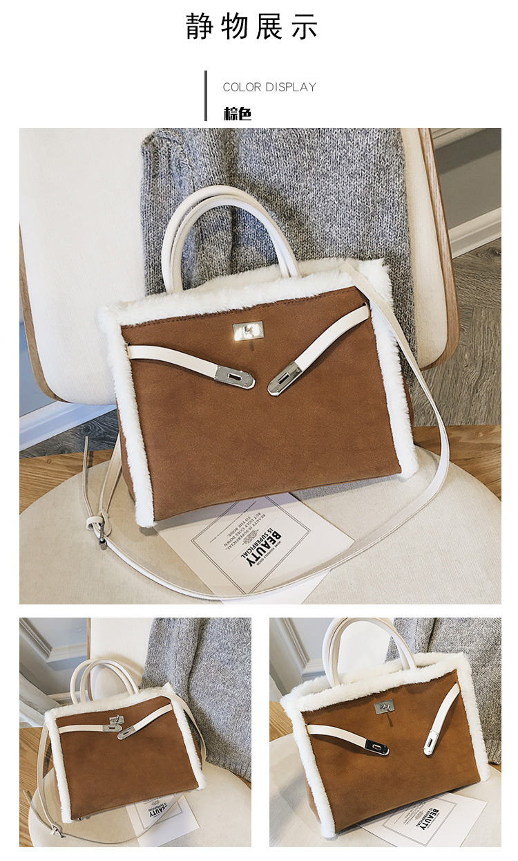 Korean handbag large capacity bucket hand bag designer big tote designer Fur women messengerc winter shopping wool no lock 111