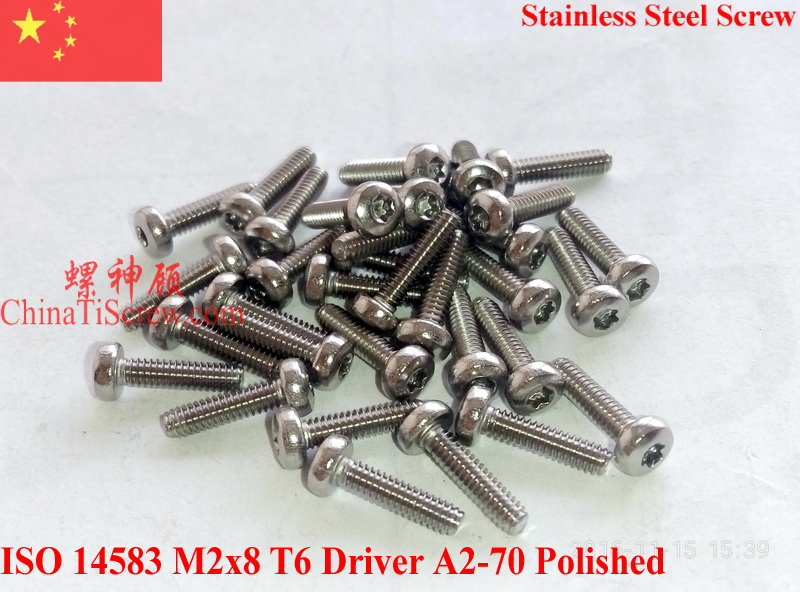 Stainless Steel Screws M2x8 ISO 14583 Pan Head Torx T6 Driver A2-70 Polished ROHS 100 pcs