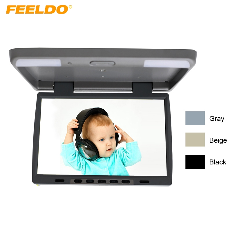 FEELDO DC12V 15.4 Inch Car/Bus TFT LCD Roof Mounted Monitor Flip Down Monitor 2-Way Video Input Built-In IR Transmitter #1291 partol black car roof rack cross bars roof luggage carrier cargo boxes bike rack 45kg 100lbs for honda pilot 2013 2014 2015