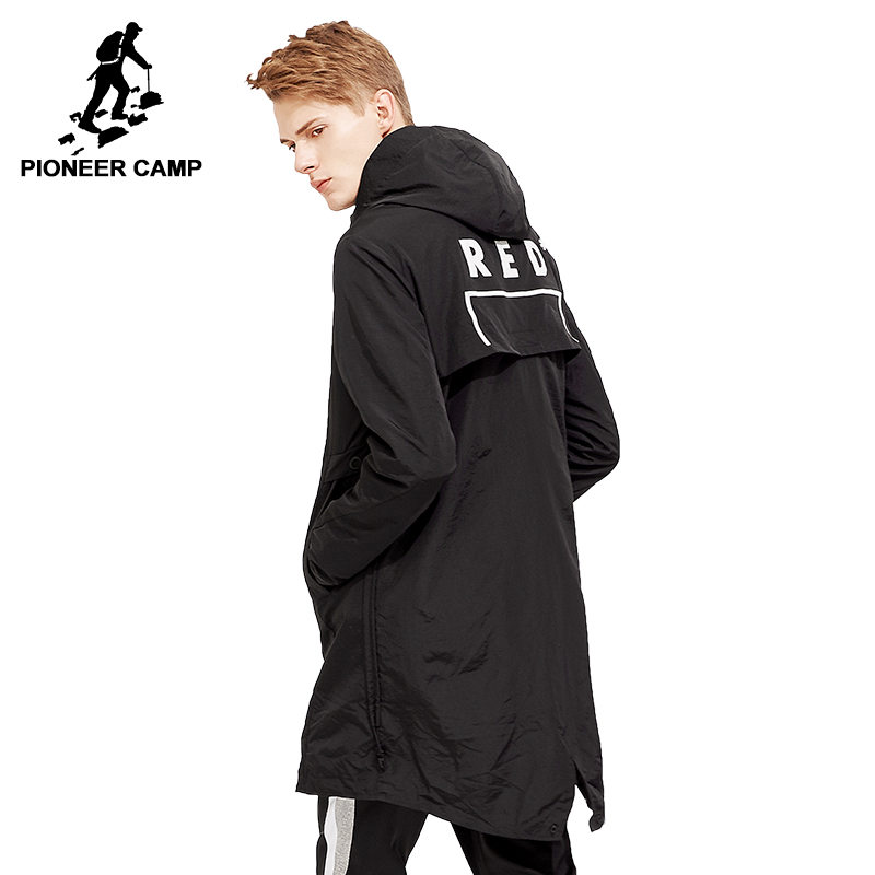 Pioneer camp new long trench coat mens brand clothing casual fashion long jackets coat men quality hooded trench male AFY803120