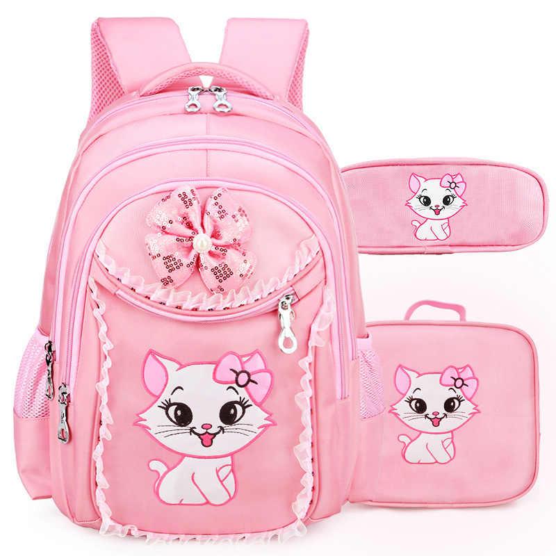 eb02d58f05d4 Мультфильм кошка школьные сумки для девочек подростков красивый детский  рюкзак кружева Bookbag детей начальной школы большой