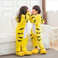 Funny Cute Tiger Animal Onesie Pajama For Children Kids Baby Boy Girl Unisex Sleepwear Flannel Hooded