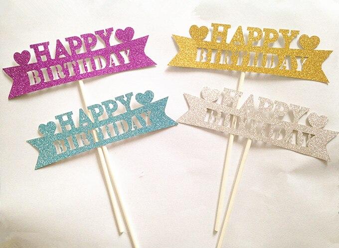 "4PCS / LOT Gilsten ""행복한 생일""케이크 토퍼는 생일 파티 장식을 위해 추천합니다"