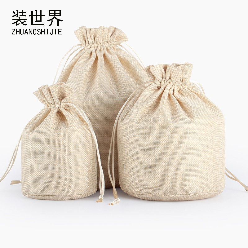 5Pcs 9x15.5cm Linen Drawstring Pouch Bag Logo Printed Jute Pouch Round Bottom Bag
