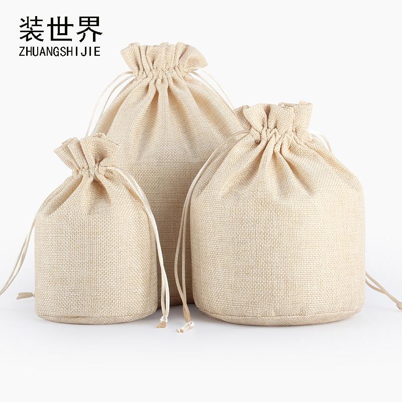5Pcs 9x15.5cm Linen Drawstring Pouch Bag Logo Printed Jute Pouch Round Bottom Bag