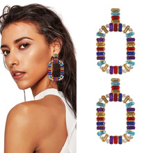 Europe and the United States cross-border new colorful geometric square eardrop fashion ladies earrings accessories