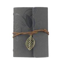BLEL Hot Vintage Leaf PU lederen Cover Loose Leaf Blanco Notebook Journal Dagboek Pocket Size (grijs)