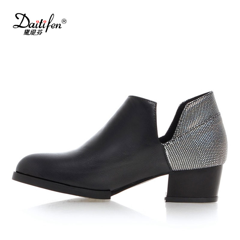 2017 top sale women spring ankle boots official shoes low square heel sample slip on