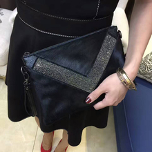 Horsehair+Real Leather Diamond Clutch Evening Bags Crystal Rhinestone Evening Purse Designer Brand Envelope Women Messenger Bag