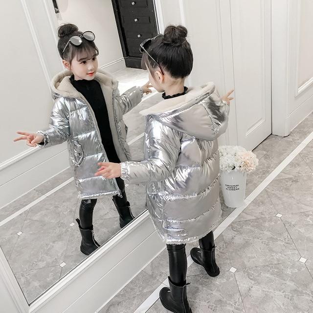 2019 Girls winter jacket kids down cotton coat Waterproof snowsuit pink Gold silver jacket Hooded parka girls down coats-in Down & Parkas from Mother & Kids