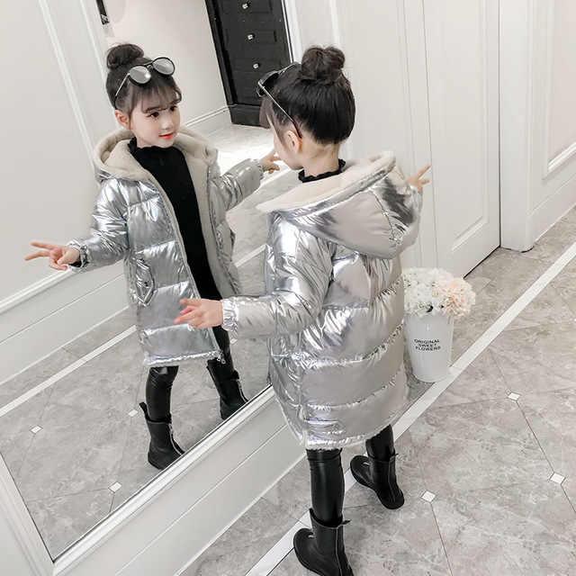 2019 dziewczęca kurtka zimowa dla dzieci puchowy płaszcz bawełniany wodoodporny kombinezon różowy złoty srebrny kurtka kurtka z kapturem dziewczyny dół płaszcze