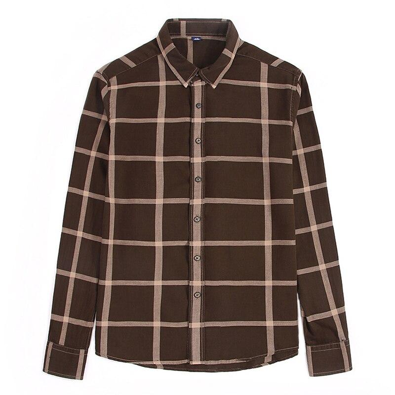 Herren Braun Weiß Kariertes Hemd Männer 2019 Trend Frühling Langarm Checkered Männer Kleid Shirts Harajuku Slim Fit Bluse Chemise Homme Hemden