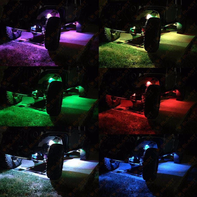 4x Bluetooth Pod RGB Mini Rock Under Vehicle LED Flush Lights Multi-Function cv