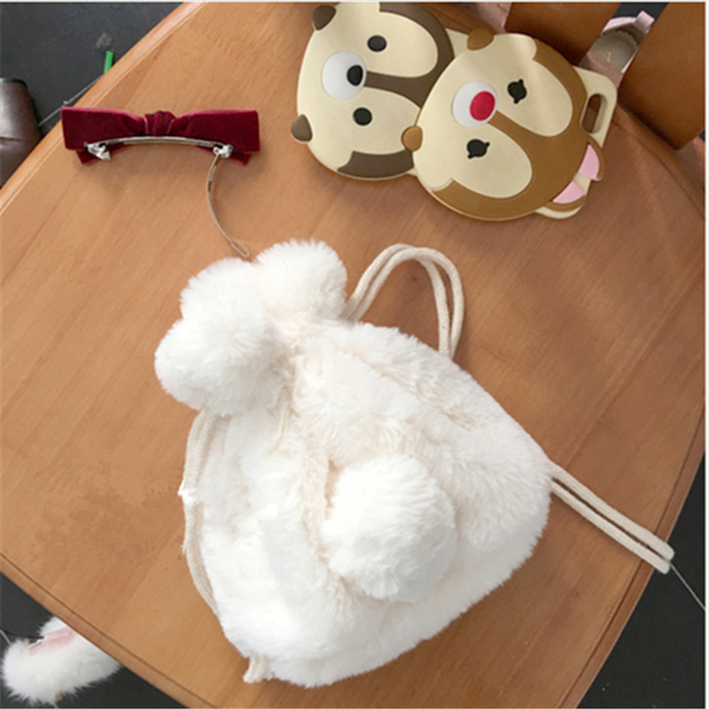 ФОТО lovely rabbit tail handbag warm cartoon messenger bag rabbit bag cute animal shoulder bag small fur string phone bag