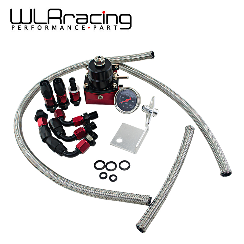 WLR RACING - Black&Red Universal fpr AN6 Fitting EFI fuel pressure regulator For 7MGTE MKIII with hose line Fittings Gauge racing fuel regulator delivery adapter