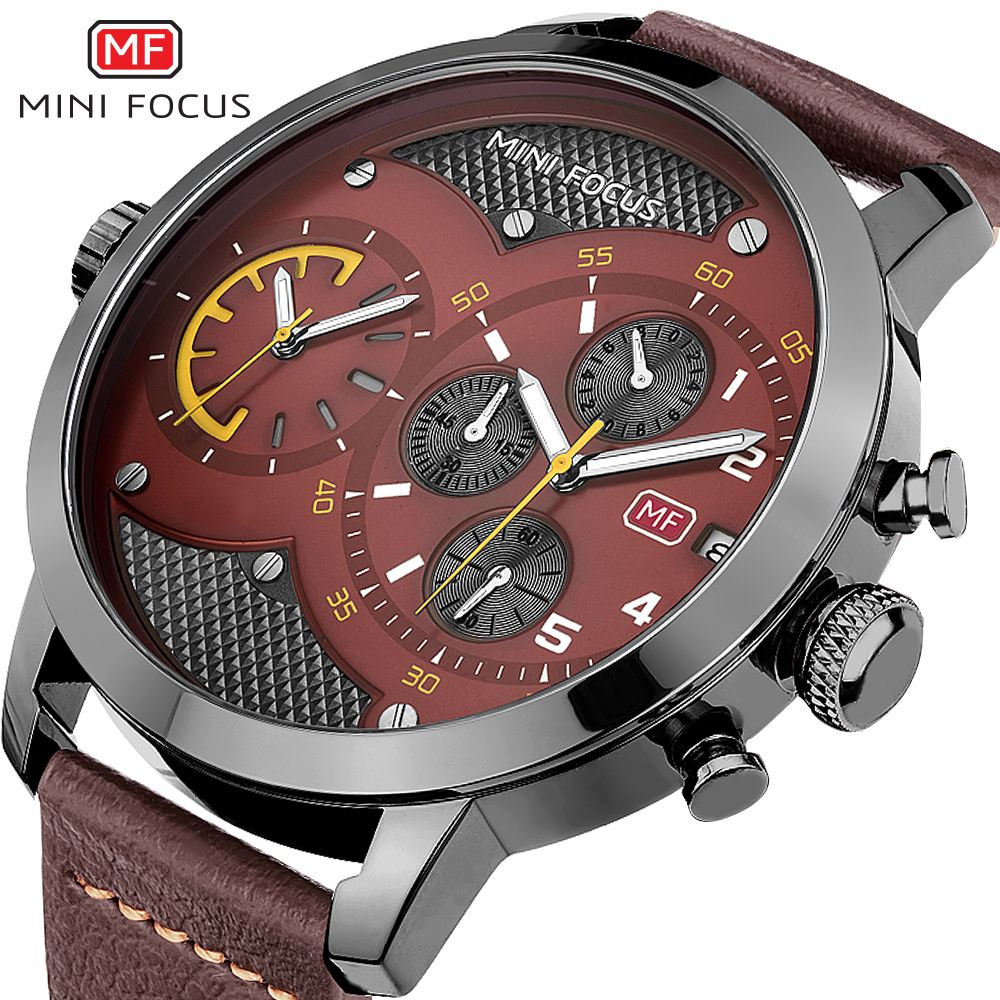 MINI FOCUS Top Band Luxury Men Watch Quartz Clock Brown Genuine Leather Strap Calendar 3D Index Design Fashion Army Watches eache silicone watch band strap replacement watch band can fit for swatch 17mm 19mm men women