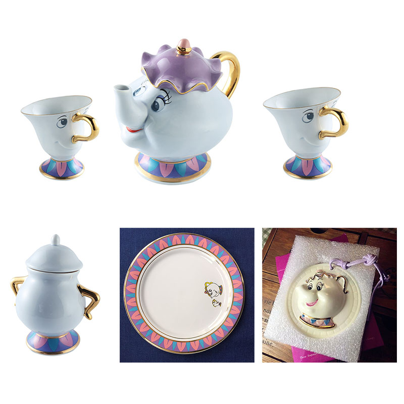 CUTE Cartoon Beauty And The Beast Teapot Mug Mrs Potts Chip Tea Pot Cup Set Sugar Pot Bowl Plate Coffee Milk Kettle Xmas Gift