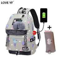 Kobiet uczeń mody torba szkolna wodoodporny nylon Ms plecak na laptopa USB kobieta podróży plecak dywan tas szkoły meisjes kinderen