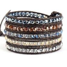 Множество новых полудрагоценный камень кожаный браслет-обруч браслет кристалл браслет из бисера браслет