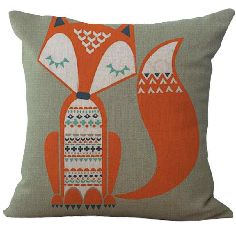 Mordern Comfortable Perfect Lovely Fox Print Sofa Bed Home Decoration Cushion linen blend Cushions Almofada Decorativa