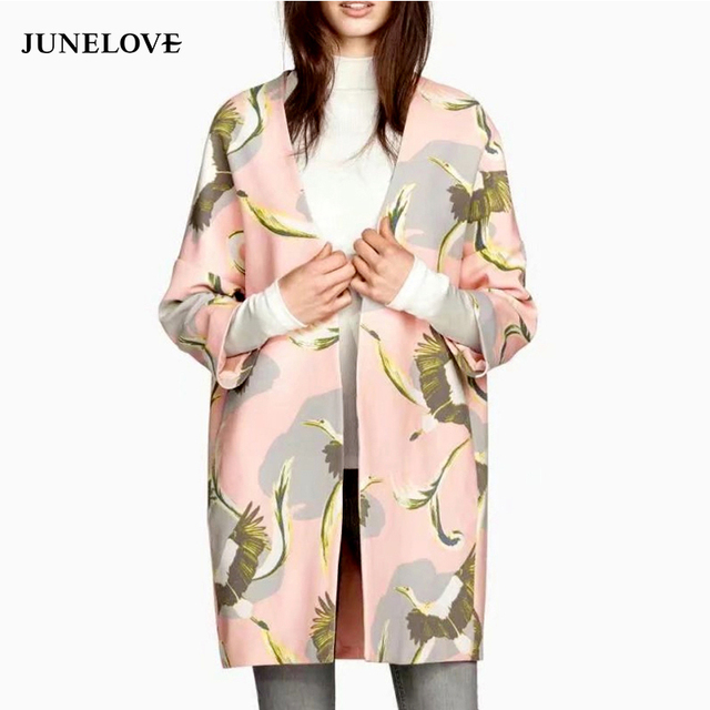 JuneLove 2018 Autumn Trench Coat Women Cranes Printed Long Coat Female Casual Pockets Winter Outwears Women Clothing