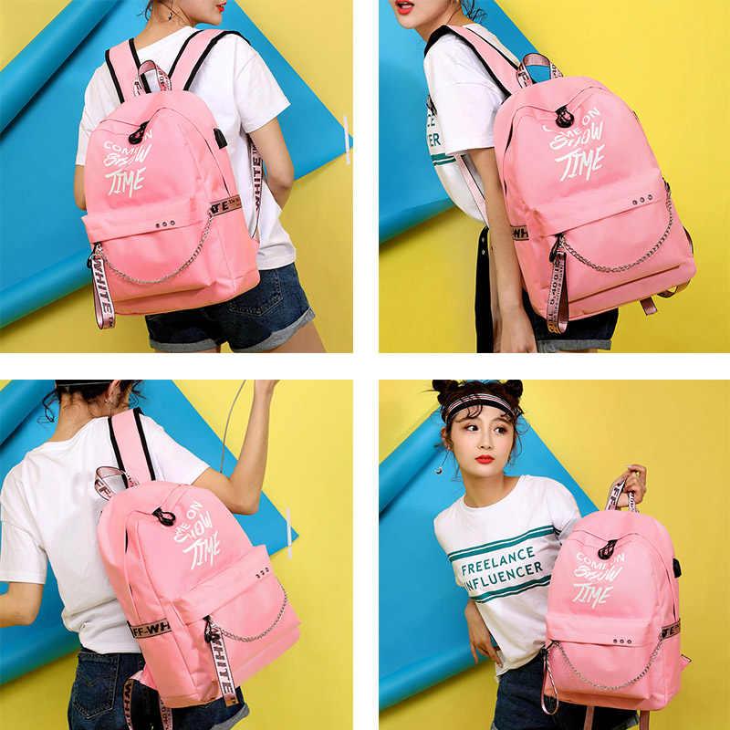 Neue Leucht USB Ladung Frauen Rucksack Mode Buchstaben Druck Schule Tasche Teenager Mädchen Bänder Reise Rucksack Mochila Sac A Dos