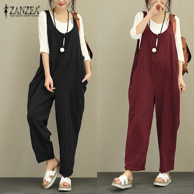 ZANZEA 2019 Retro Linen Rompers Pants Womens Vintage   Jumpsuit   Female Backless Overalls Strapless Playsuit Women Pantalon Palazzo