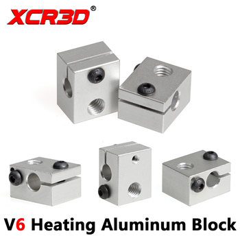 XCR3D Printer Parts E3D V6 Heating Block hotend Accessories for RepRap Makerbot Extruder Hotend Kit mellow all metal nf crazy hotend v6 copper nozzle for ender 3 cr10 prusa i3 mk3s alfawise titan bmg extruder 3d printer parts