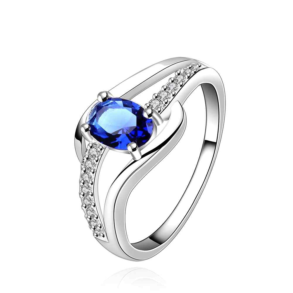 free shipping wholesale fashion Jewelry silver plated ring blue stone silver color wedding ring for women